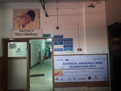 Banner against the wall of Dept of Microbiology