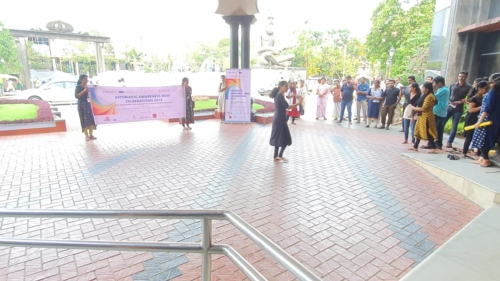 An university student performing a street play to aware students about ABR