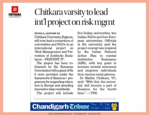 Chandigarh Tribune publishes about the Chitkara University leading PREVENT IT project.