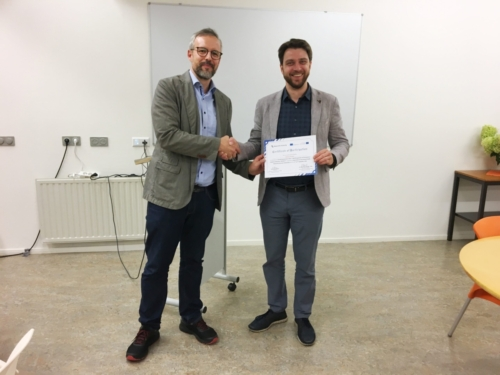 Mr. Romans Putan the Quality Manager from Riga Strandis University being facilitated during the second empowerment camp