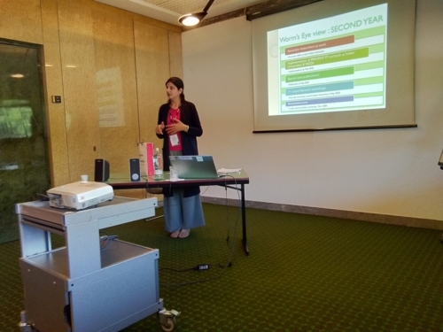 Dr. Kiranjeet explaining the milestones achieved during the Third Empowerment and Management Camp